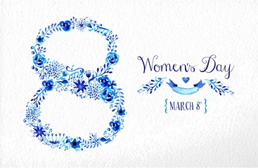 Happy Women day vintage flower card