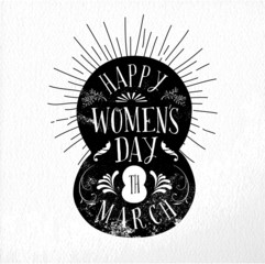 Happy Women day vintage illustration