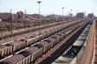 Iron Ore on railway wagons Salanaha Bay Terminal South Africa - 78499077