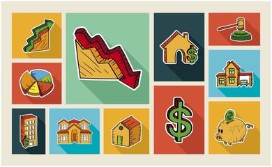 Real estate sketch style illustration icon set