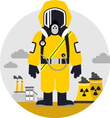 Man in protective suit on pollution background