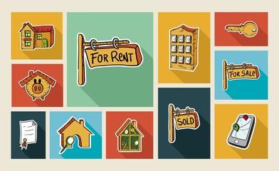 Real estate sketch style flat icon set