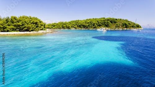 Fotobehang Kust clear crystal water over Hvar island in Dalmatia, Croatia