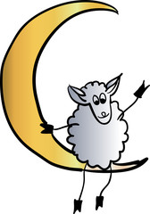 sheep on the moon vector illustration