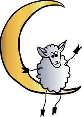 sheep on the moon vector illustration