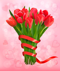 Valentine's holiday background with bouquet of pink flowers with