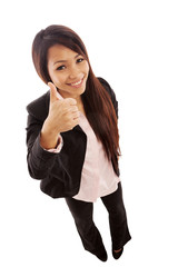 Top shot of asian businesswoman showing positive thumb gesture
