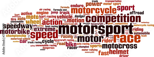 Naklejka Motorsport word cloud concept. Vector illustration