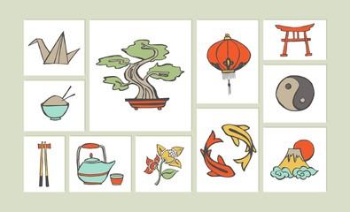 Chinese hand drawn illustration icon set