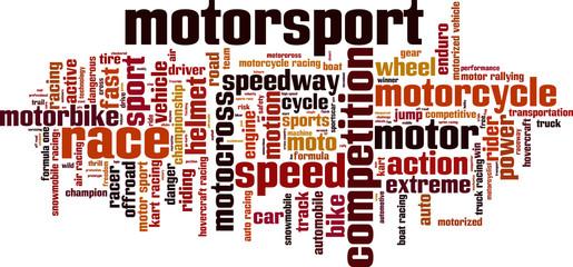 Motorsport word cloud concept. Vector illustration