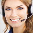 Support phone operator in headset, on grey