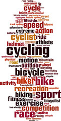 Cycling word cloud concept. Vector illustration