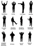 Silhouette of an NFL referee signalling common football fouls poster