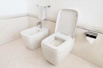 Toilet and bidet in a modern bathroom - raised lid