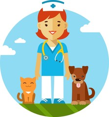 Veterinary doctor, dog and cat in flat style