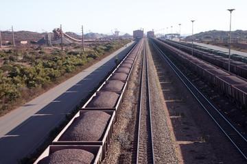 Iron Ore on railway wagons Saldanaha Bay Terminal South Africa