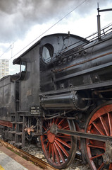 Detail of old  classic steam locomotive
