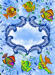 blue figural frame with tropical fishes