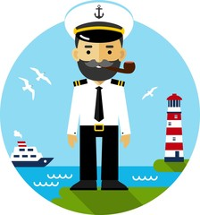 Ship captain in uniform on sea cost background