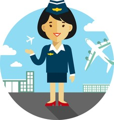 Stewardess on airport background in flat style