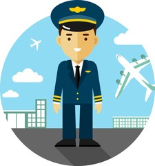 Pilot on airport background in flat style