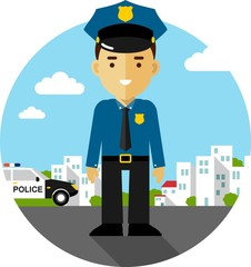 Policeman in uniform in flat style