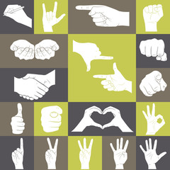 Icons set of hands showing different gestures
