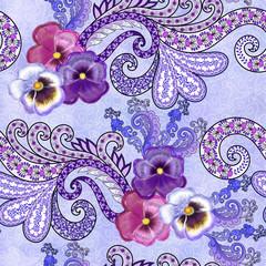 seamless pattern with paisley, swirls and violerts
