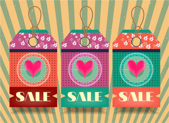 Three, romantic, isolated stickers with text Sale, retro style