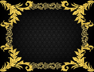 Vintage frame with leaves and decor on black  background