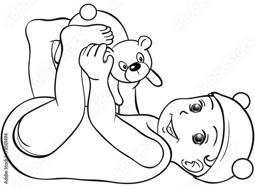 Gamesageddon Baby Spielt Mit Teddy Ausmalbild Lizenzfreie Fotos