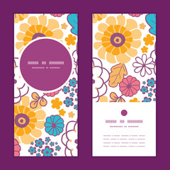 Vector colorful oriental flowers vertical round frame pattern