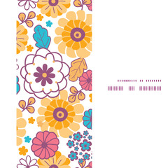 Vector colorful oriental flowers vertical frame seamless pattern