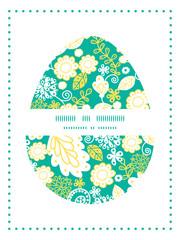 Vector emerald flowerals Easter egg sillhouette frame card