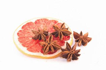 Star anis on a blood grape fuit slice