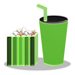 Popcorn In Box And Drink Illustration