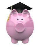 Piggy bank wearing a graduation cap, savings fund for college