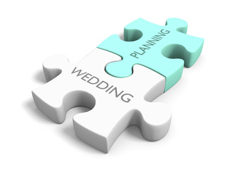 Wedding day planning and preparation puzzle concept