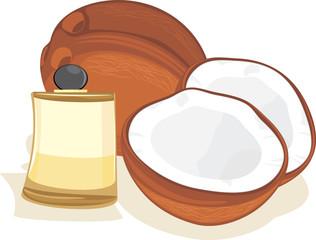 Ripe coconuts and coconut oil