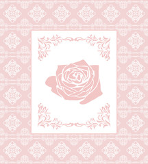 Ornamental pink seamless background with frame. Greeting card
