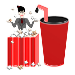 Woman In Popcorn Box And Drink, Cartoon Concept Illustration
