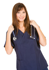 Doctor: Pretty Doctor In Scrubs with Stethoscope
