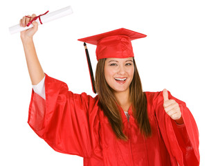 Graduate: Female Student Giving Thumbs Up