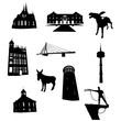 canvas print picture - Wesel Wahrzeichen als Silhouetten