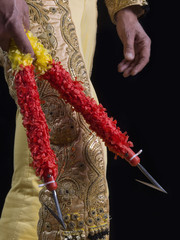 Bullfighter dressed with suit of lights with sticks in the hands