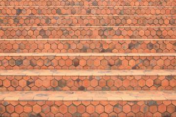 Hexagonal tiles stairs