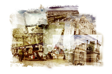 multiple exposures of different landmarks in Paris, France