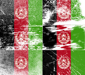 Set of 6 Flags of Afghanistan with old texture. Vect