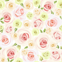 Seamless pattern with pink and white roses. Vector illustration.