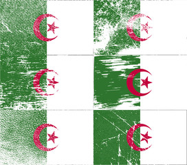 Set of 6 Flags of Algeria with old texture. Vector